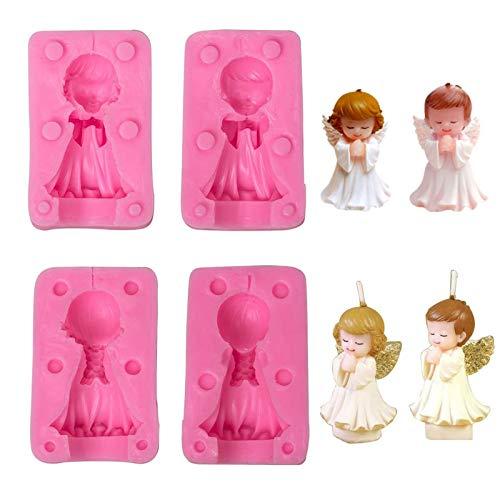 2 stanze Stampo in silicone 3D bambino e ragazza angelo Forma d'angelo fai-da-te per sapone per candele Stampo per caramelle al cioccolato per ragazzo e ragazza facile da pulire e riutilizzabile