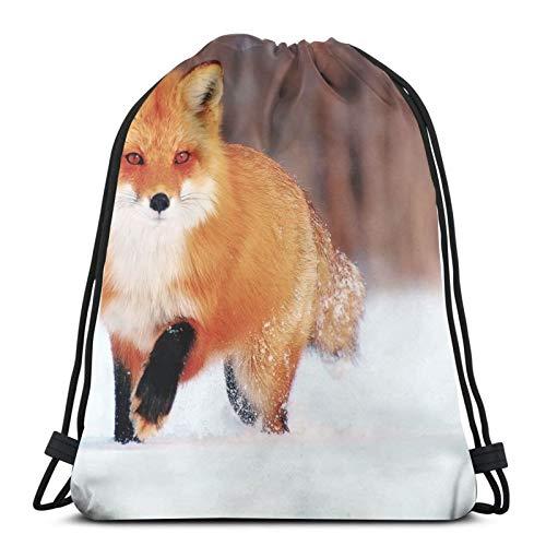 Affordable shop Fox Fox - Mochila de invierno con cordón para nieve, ligera, gimnasio, viajes, yoga, bolsa de hombro para senderismo, natación, playa