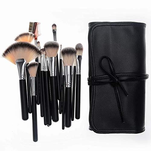 Maquillage Multifonctionnel Brush Set 18 Pcs Maquilleur Outils Professionnels Beauté Du Visage Poignée En Bois Sac De Maquillage Brosse PU,2