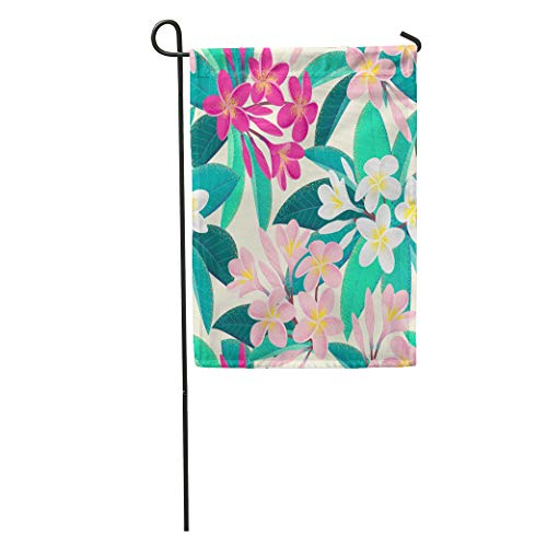 Semtomn Garden Flag Hawaiian Pink and White Frangipani Plumeria Flowers Leaves Retro Tropical Home Yard House Decor Barnner Outdoor Stand 12x18 Inches Flag