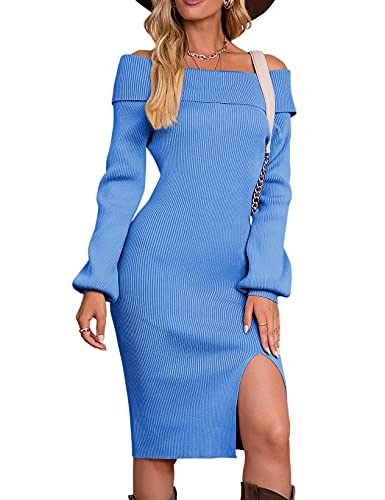 Vthereal Vestido de punto para mujer, elegante, cuello redondo, vestido de invierno, manga larga, azul, L