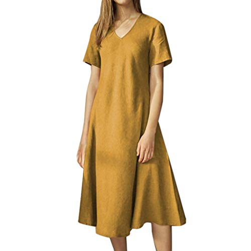 Great Price! Litetao Swimsuits Women's Solid Short Sleeve V-Neck Casual Knee-Length Dress Summer Lon...