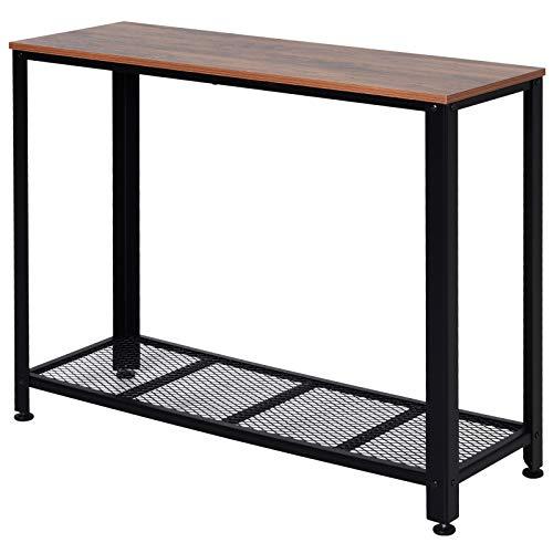HOMCOM Konsolentisch, Sideboard, Beistelltisch mit Gitterablage, Industrie-Stil, Metall, 101 x 35 x 80 cm
