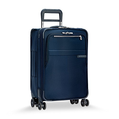 Briggs & Riley Baseline Domestic Carry-On Expandable 4 Wheel Suitcase Spinner, 56cm, 54 litres, Navy