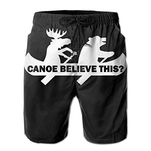 XCNGG Pantaloncini da Spiaggia Canoe Believe This Bear Moose Funny Men Swim Trunks Quick Dry Waterproof Beach Pants Beach Board Short with Pockets