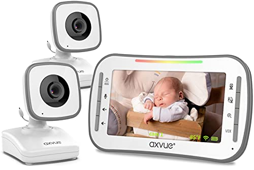 Video Baby Monitor, 4.3  High Resolution Display, 2 Cams for 2 Rooms, 18-Hour Battery Life, 1000ft Range, 2-Way Communication, Secure Privacy Wireless Technology