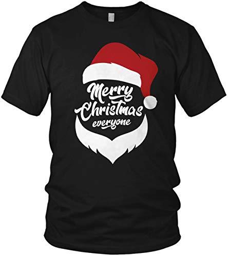 Santa Claus Merry Christmas Everyone - Weihnachtsmann Weihnachten Geschenk Xmas Dress - Herren T-Shirt und Männer Tshirt, Größe:XL, Farbe:Schwarz