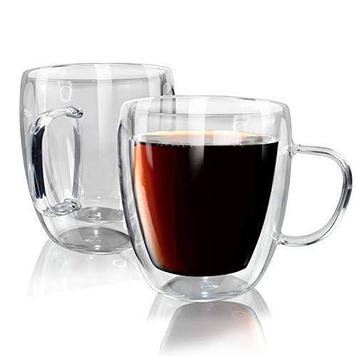 UMI Amazon Brand Tazas de Vidrio de café de Doble Pared de 450 ml Taza Transparente Paquete de 2 para Cappuccino Latte Tea Milk Juice