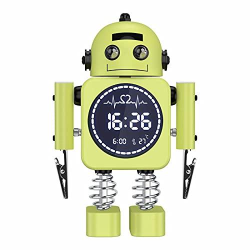 Kids Alarm Clock, Robot Alarm Clock for Children Sleep Trainer, Digital Alarm Clock for Boys Girls Bedroom, Heavy Sleepers Room Decor Alarm Clock with Snooze Mode