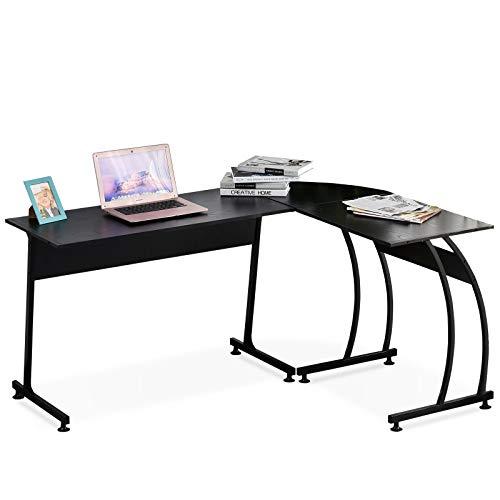 HOMCOM Mesa de Computadora en Forma de L Escritorio para Estudio Oficina Minimalista Moderno con Gran Espacio 112,5x152x74 cm Negro