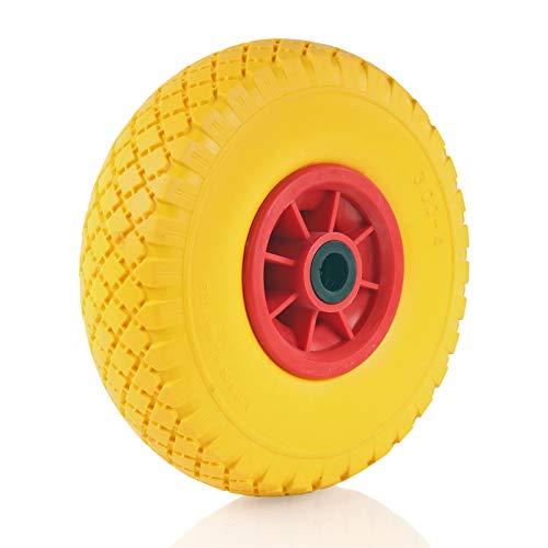 Schubkarrenrad vollgummi, Ersatzrad mit 10 Zoll Kunststofffelge, Polyurethan-Reifen, Gesamthöhe 250mm (1)