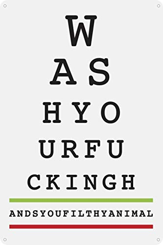Toothsome Studios Wash Your Hands Eye Chart 12' x 8' Funny Tin Bathroom Sign