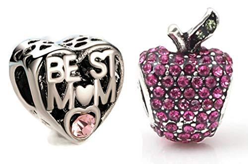 Marni's - 2 Charms Pandora Style | Corazon Mejor Mama y Manzana | Colgantes mujer | Compatibles Pulsera Pandora Charm | Regalos originales Madre (Corazon + Manzana Rosa Cristales)
