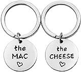 The Mac The Cheese Portachiavi, bigiotteria regalo per coppie di macaroni e formaggio, regalo migliore amico e Acciaio inossidabile, colore: Portachiavi Mac Set, cod. U