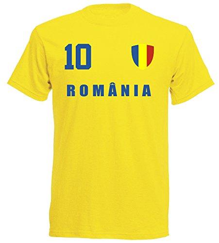 aprom - Rumänien Kinder T-Shirt Trikot ALL-10 GE - WM 2018 Fußball (140)