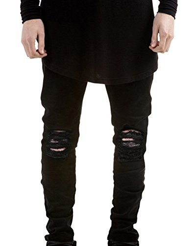 LaoZan Herren Superenge Jeans mit Rissen am Knie in verwaschenem Jeanshose Denim Jeans Hose