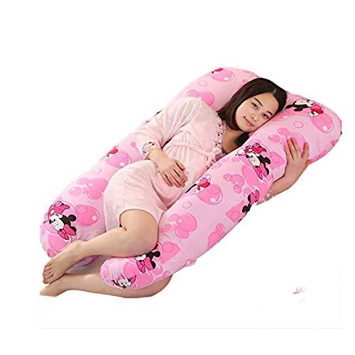 KYSM Almohada en Forma de U Puro Algodón Embarazadas Mujeres U-Forma Almohada por Cintura Almohada Multifuncional Cintura Lateral Sleep Almohada Bubble Mickey Mouse