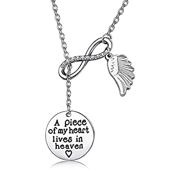 Memorial Jewelry Sympathy Gift A Piece of My Heart Lives In Heaven Lariat Y Necklace Loss Jewelry Gift  Y neckalce