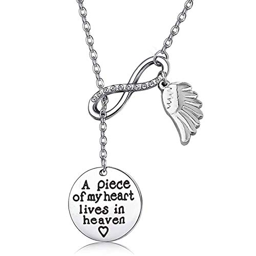 Memorial Jewelry Sympathy Gift A Piece of My Heart Lives In Heaven Lariat Y Necklace Loss Jewelry Gift (Y neckalce)