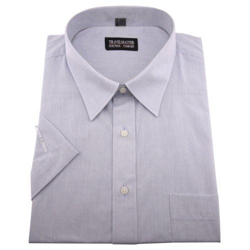 Travelmaster Herren Business & Freizeit Kurzarm Hemd mit Brusttasche - Farbe Silber - Hemd Gr.45/46 XXL