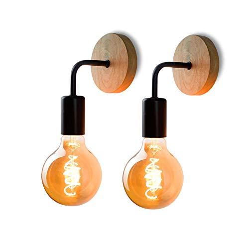 AUA Retro Wandleuchte, Vintage Wandleuchte, Metall- und Holzwandleuchten, für Wohnzimmer, Schlafzimmer, Industriedekor, 2er-Set