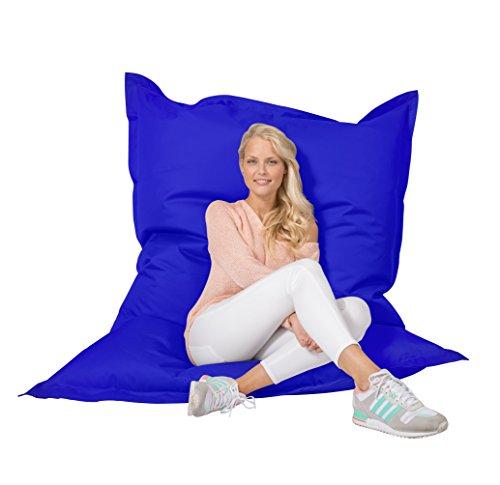Lumaland PUF otomano Puff XXL 140 x 180 cm 380l con Relleno Innovador Maxi Puff Interior Exterior Azul