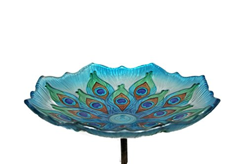 "Evergreen Garden Stunning and Intricate Peacock Feather Inspired Glass Bird Bath Bowl with Metal Stake - 11"" Long x 11"