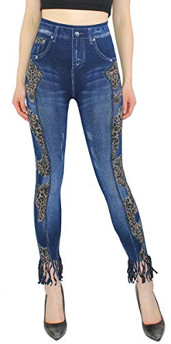 dy_mode Jeggings Damen 7/8 Jeans Optik Leggings mit Fransen - 7LG016 (One Size - 36/38/40, 7LG192-TigerFransen)