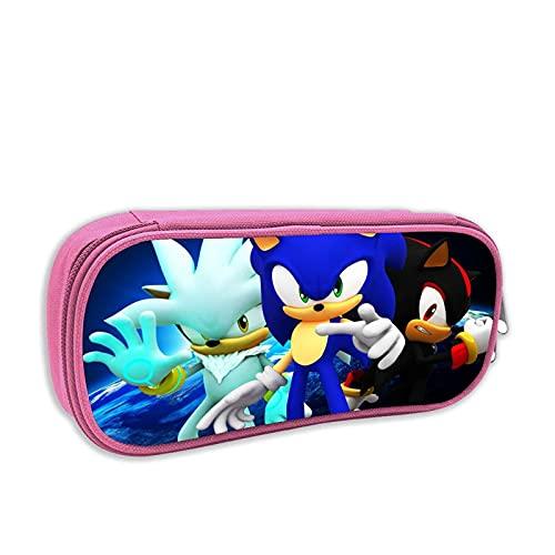 Sonic Pencil Case Zipper Classic Sonic Compact Organizer Storage Scatola per penna Sonic Borsa per matita Sonic Borsa impermeabile Oxford Borsa per matita per studente Bambino Bambino a scuo