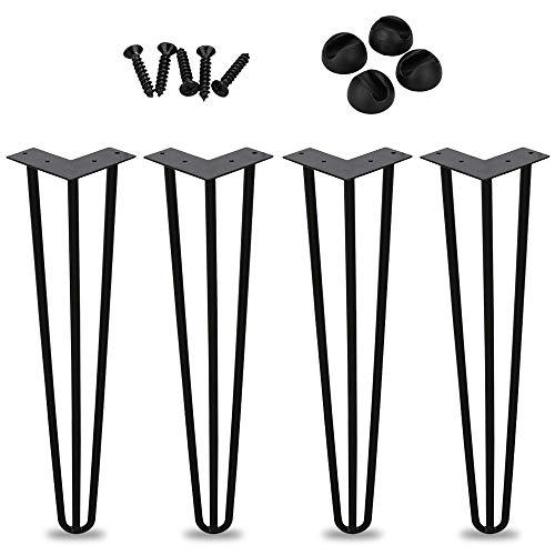 Set von 4 Tischbeine Hairpin legs 30cm(12 zoll), 3 Streben Metall Tisch Beine perfekt für Schrank, TV-Schränke, Couchtisch, Nachttisch Komme Mit Free Floor Protectors and Screws
