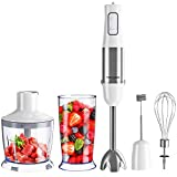 Homgeek 5-in-1 Hand Blender Set, 1000W 6-Speed Stick Blender with Turbo Button/600ml Beaker/500ml Food Processor/Egg Whisk/Milk Frother Attachments,White