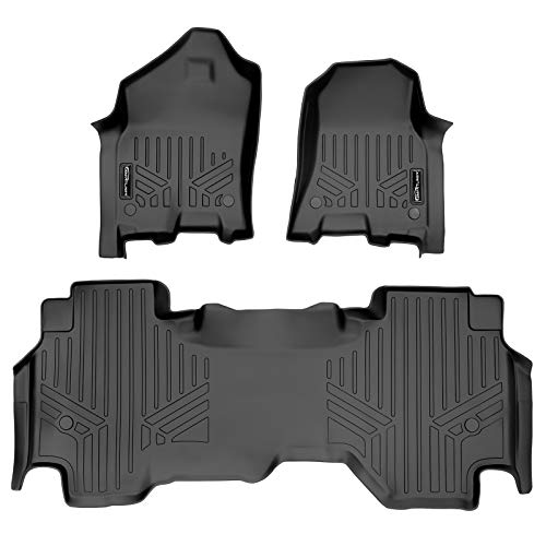 MAXLINER Floor Mats 2 Row Liner Set Black for 2019-2021 Ram 1500 Quad Cab with 1st Row Captain Seat or Bench Seats