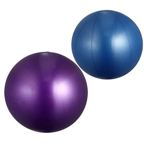 ABOOFAN 2 bolas de yoga esmeriladas engrosadas antiexplosiones de fitness, mini bola de equilibrio para ejercicio de gimnasia y gimnasio (15-35 cm, tamaño aleatorio azul + morado)