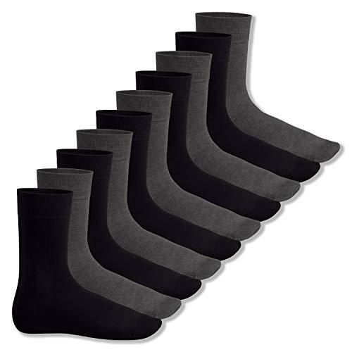 Footstar Herren & Damen Baumwollsocken (10 Paar), Klassische Socken aus Baumwolle - Everyday! - Anthra-schwarz 35-38
