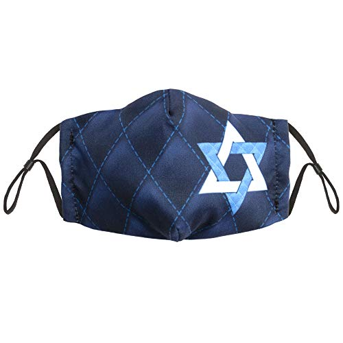 Hanukkah Star of David Child Size Cloth Face Mask - Cute, Washable, & Reusable Nose & Mouth Protection - Breathable Cotton Inner, Poly Outer - Holiday Safety Fashion for Kids