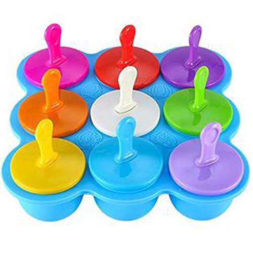 Tnaleve Moldes de hielo, paletas reutilizables, 9 cavidades con coloridos palillos de silicona, para paletas, helados, sorbetes, alimentos para bebés, etc