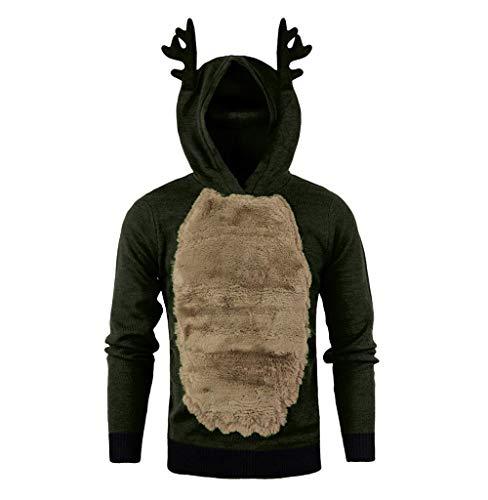 Tomatoa Weihnachtspullover Herren Hoodies Top Sweater Pulli Sweatshirt Weihnachtspulli weihnachtlichen Kapuzenpullover Mit Kapuze