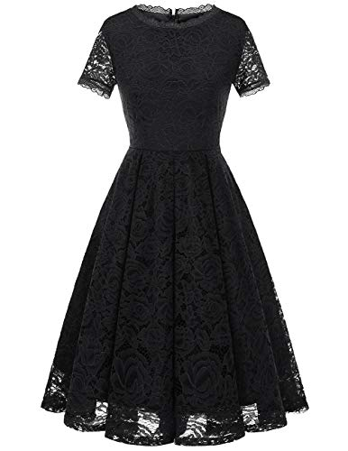DRESSTELLS Damen Midi Elegant Hochzeit Spitzenkleid Kurzarm Rockabilly Kleid Cocktail Festliche Kleider Black S