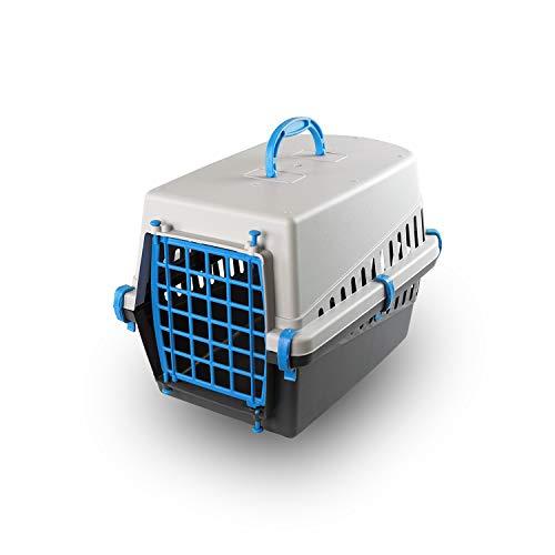 PATAM Trasportino per Animali Portata Max 8 kg – Trasportino Cane e Gatto in Plastica 33 x 50 x 32 cm Miao Blu