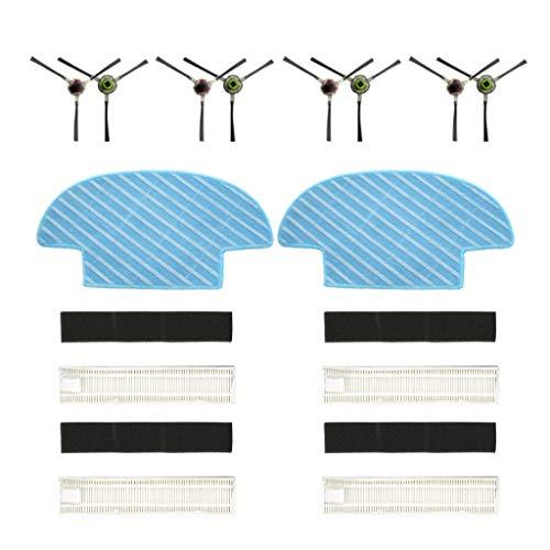 CAOQAO Ecovacs Slim Slim 2 balayeuses Aspirateur, Brosse Latérale 8 Pcs,Filtre Quatre Groupes,Mopping Chiffon 2 Pcs,Nouveau Kit D'Accessoires De Remplacement pour Ecovacs Slim Slim 2