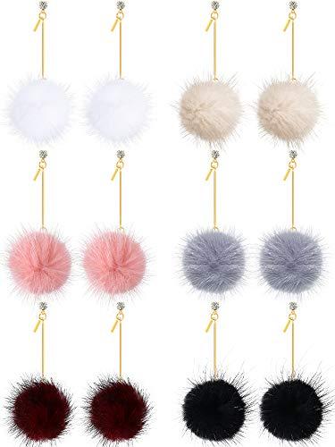 6 Pairs Faux Fur Ball Earrings Pom Pom Dangle Earrings Valentines Gifts for Women Girls