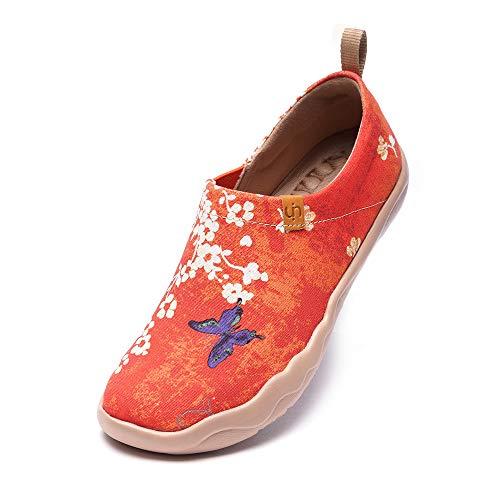 uin Scarpe Casual Fiore di ciliegio Giapponesi da Donna, Regali di Pesce Rosso, Mocassini Piatti Dipinti con Vernice Antiscivolo 38