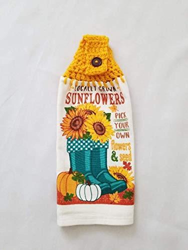 Crochet Top Kitchen Towel Fall Sunflower, Rain Boots, Pumpkins Yellow