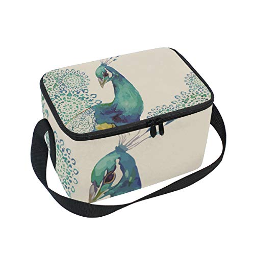 Mnsruu Sketch Pfau Isolierte Lunchbox Kühltasche für Picknick, Schule, Frauen, Kinder