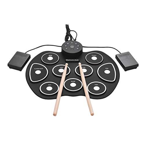 Qinmo Drum Pad electrónico, batería electrónica, Equipo de batería portátil Roll Up 9 almohadillas eléctricas Práctica Drum Pad pedales palillos for niños Los niños principiantes (Color : Green)