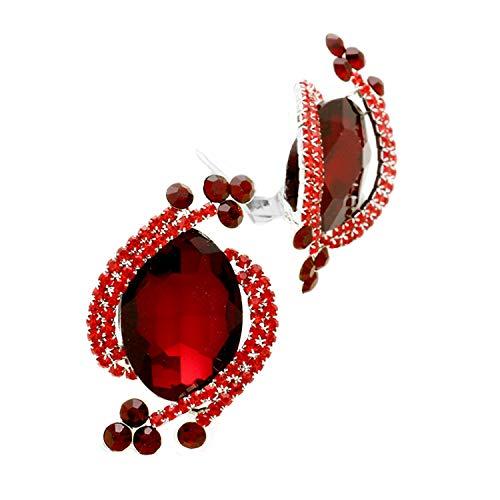 Schmuckanthony Hoernel - Pendientes grandes de clip con cristales rojos, 5 cm de largo.