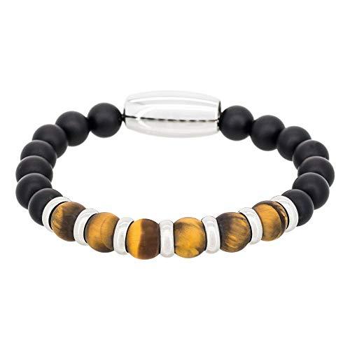 Yellow Tiger Eyes - Pulsera para hombre de acero, ojos de tigre y piedras negras