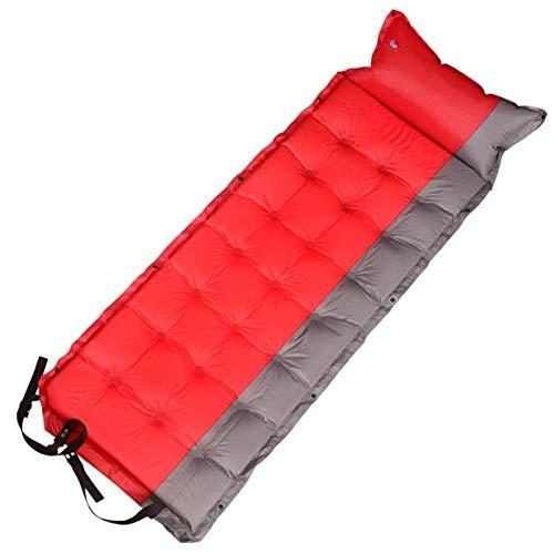 YiXing Colchón inflable con almohada de aire portátil individual colchoneta de acampada colchón de aire, ligero cojín de viaje (color: rojo)