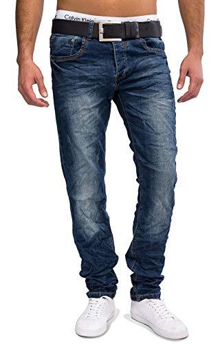 ArizonaShopping Herren Jeans Hose Destroyed Stone Washed Straight Leg, Farben:Blau, Größe Jeans:W31