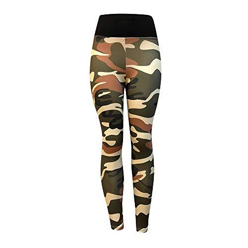 Camouflage Sporthose Damen Lang Eng Yogahosen Trainingshose Tights Shape Stretch Leggings für Workout Gym Sport Yoga Joggen Trainings Fitness Laufen Hosen riou New (L, Armeegrün)